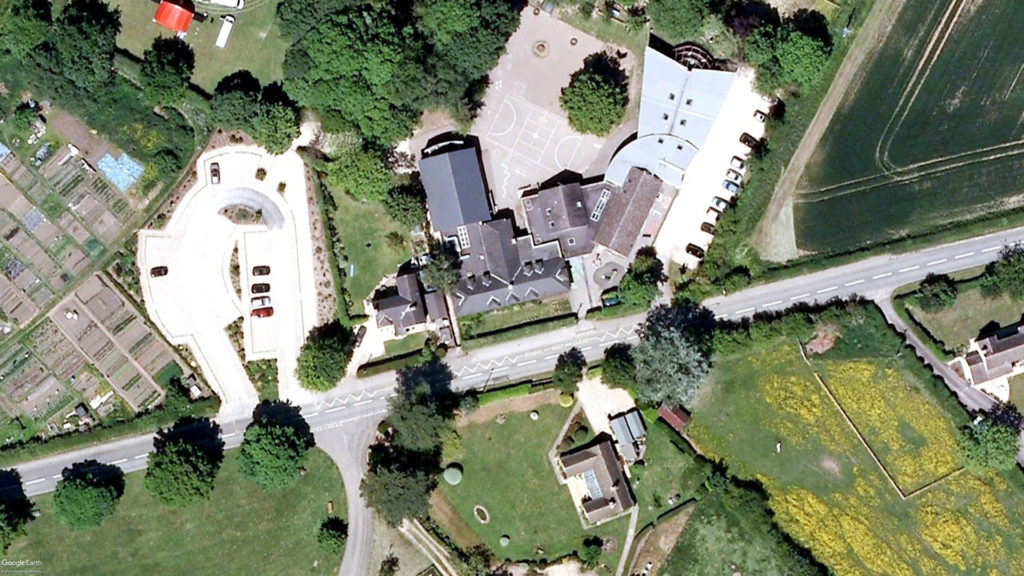 Kingham Primary School. Aerial image.